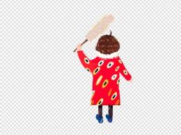 手绘插画拿着鸡毛掸子的女孩