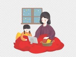 冬日周末妈妈陪女儿看故事片卡通
