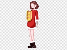 过大年手绘水彩卡通快乐红衣女孩