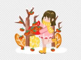 小寒小女孩吃柿饼手绘插画