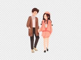 情人节情侣牵手逛街约会爱情幸福
