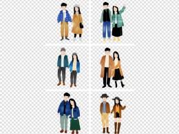 卡通手绘六幅穿情侣装的幸福情侣