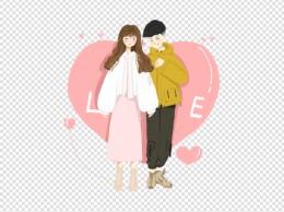 情人节2.14手绘粉色情侣免抠图