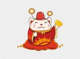 Q版招财猫手绘插画