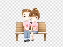 七夕情人节坐在长椅上爱情情侣插画