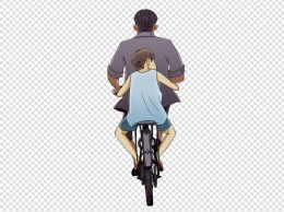 父亲节卡通手绘骑车背影