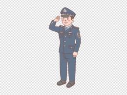 警察男警敬礼手绘卡通