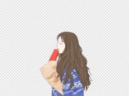 手绘插画长发女孩