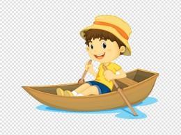 卡通人物划船