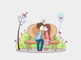 浪漫情人节情侣约会手绘插画
