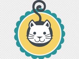 手绘卡通小动物小猫矢量标签