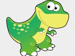 手绘卡通可爱动物绿色恐龙矢量素