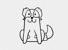 卡通狗狗儿童涂鸦线条简笔画免扣